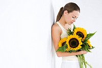Woman with sunflower (thumbnail)