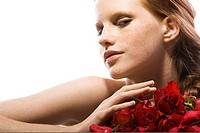 Portrait of woman with roses (thumbnail)