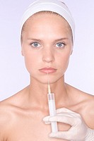woman having botox injection