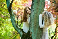 Autumn portrait of young women