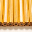 Close up of group of new unsharpened pencils lined up in an even row
