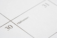 Close up of calendar displaying Halloween.
