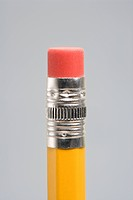 Close up of eraser end of pencil