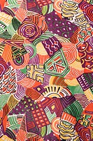 Close_up of colorful vintage fabric with abstract shapes printed on polyester