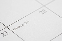 Close up of calendar displaying Memorial Day