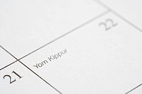 Close up of calendar displaying Yom Kippur