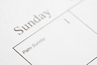 Close up of calendar displaying Palm Sunday