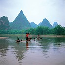 Landscape, river, ship, tree, mountain, natural (thumbnail)