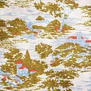 Close_up of vintage fabric with village and trees printed on polyester