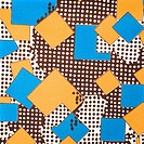 Close_up of colorful vintage fabric with blue and yellow shapes printed on polyester
