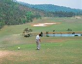 golf course, landscape, outdoors, scenic, scenery, golfer, sports