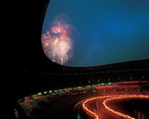 landscape, architecture, fireworks, nightscap, stadium, scenic, scenery