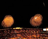 fireworks, scenery, stadium, nightview, cityview, landscape, nature