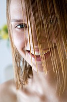 smiling girl with wet hair