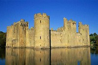 Reflection of a castle in water, Bodiam Castle, East Sussex, England