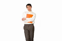 Businessman holding folder to chest, portrait, cut out (thumbnail)