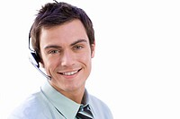 Man wearing headset, smiling, portrait, close-up, cut out (thumbnail)