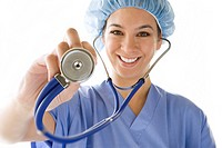 Female doctor with stethoscope, smiling, portrait, cut out (thumbnail)
