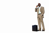 Businessman by briefcase using mobile phone, cut out (thumbnail)