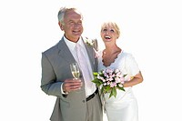 Senior married couple on wedding day with champagne, cut out (thumbnail)