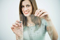Businesswoman holding flow chart transparency