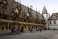 The coloured roof tiles of the Hospices de Beaune the Hotel Dieu in the centre of the city