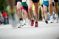 Close up of running feet