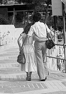 Seventies, black and white photo, people, young couple, walking, embracement, aged 18 to 25 years, Spain, Balearic Islands, Majorca