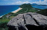 St. Kitts, view to south, Friar´s Bay and Nevis