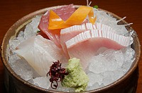 Sashimi, pieces of raw fish, one course of a Kaiseki lunch set, this style of food is said to be the pinnacle of Japanese cuisine, and an adjunct to t...