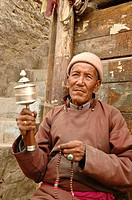 Old buddhist man Leh, Ladakh, India