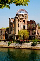 Japan. Hiroshima at Atomic Bomb ground Zero. Only building left standing. Now part of the Peace Park shrine