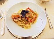 Dublin bay prawn Spaghetti, Italian food, Verona, Italy