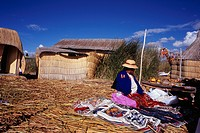 Reed Island, People, House, Uros Island, Titicaca Lake, Peru, Central South America
