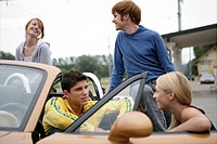 group, young adult, flirting, convertible, couples