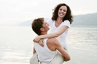 couple, carefree, laughing, lakeside, feel, portra