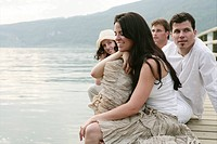 adults, relaxing, feel, lakeside, gentle, portrait