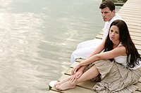 Couple, beauty, sitting, feel, lakeside, portrait (thumbnail)