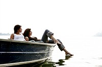 women, relaxing, boat, feeling, tender, trip, adul