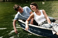 couple, flirting, laughing, feeling, boat, trip, p