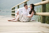 couple, beauty, sitting, lakeside, argument, portr