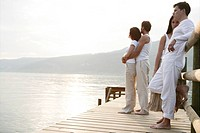 adults, lakeside, harmony, gentle, sunset, portrai