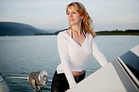 portrait, beauty, woman, yacht, lake, trip, young