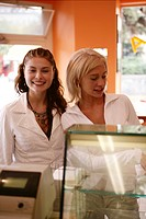 female, teenagers, happy, restaurant, order, girls