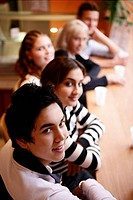 teenagers, relaxed, restaurant, table, boy, friend