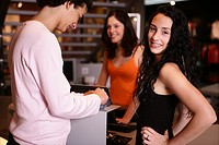 teenagers, girl, boy, paying, shop, smiling, young