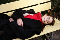 woman, lying, bench, thoughtful, looking, female