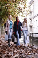 women, outdoor, walking, fall, street, young adult