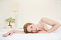 Young, woman, lying, tender, gentle, bed, pure, mo (thumbnail)