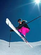 Female skier jumping